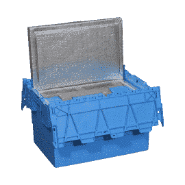 Bac isotherme hermétique en plastique bleu, d'un volume utile de 32 litres.